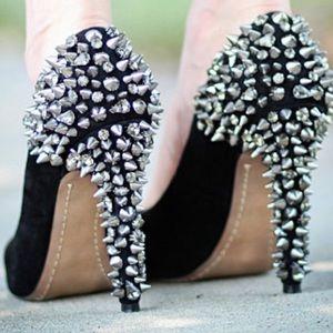 Sam Edelman Spike Heel Stiletto Black Silver Gem Designer Pump Shoe Size 8.5
